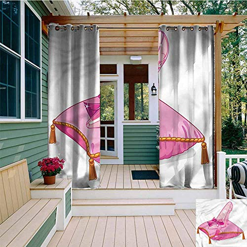 Beihai1Sun Curtains for Living Room,Princess Glass Shoe on Pink Pillow,for Patio/Front Porch,W72x96L