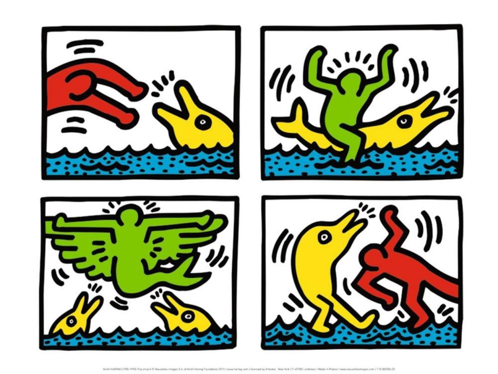 0b6f09e85 Amazon.com: Keith Haring Pop Shop V Art Print Poster - 12x16 Animal Art  Poster Print by Keith Haring, 16x12: Posters & Prints