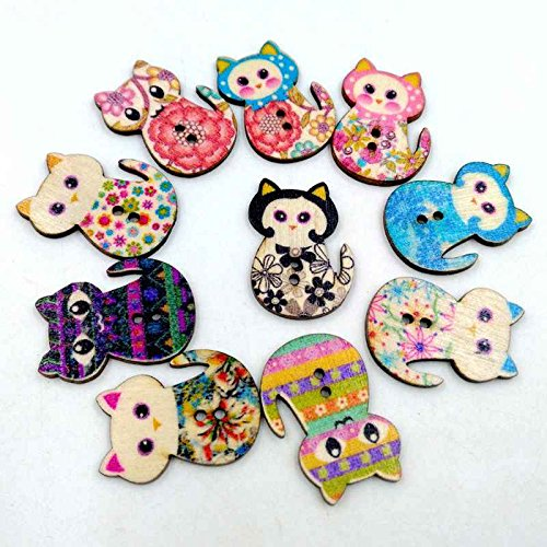 Cocoray 50pcs/Pack DIY Cartoon Cat Printing Color Wooden Buttons Wooden Buttons Handmade Decorative Cat (Hat Bakelite)