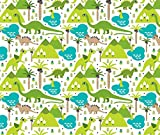 Dinosaur Fabric - Cute Dinosaur Woodland Illustration Pattern Cute Dino Nature Print for Kids and Cool Boys by littlesmilemakers - Printed on Basic Cotton Ultra Fabric by the Yard