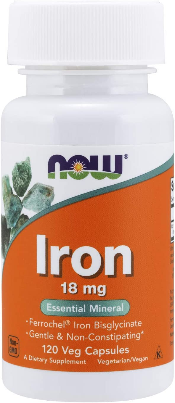 NOW Supplements, Iron 18 mg, Non-Constipating*, Essential Mineral, 120 Veg Capsules: Health & Personal Care
