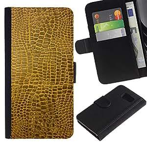 """Be-Star la tarjeta de CršŠdito Slots PU Funda de cuero Monedero caso cubierta de piel Para Samsung Galaxy S6 ( Textura material de Brown Faux Arte Aleatorio Moderno"""" )"""