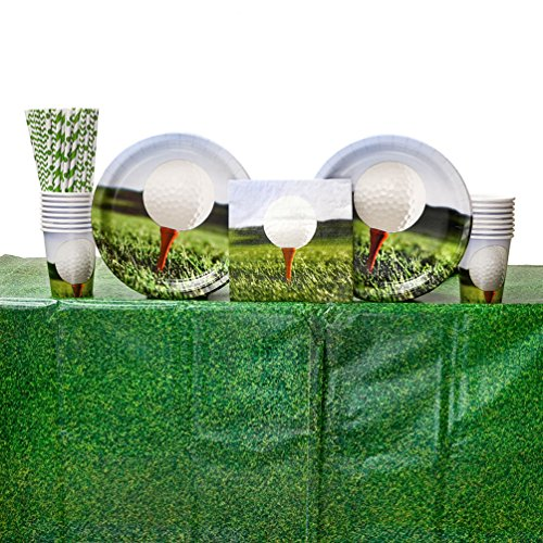 Sports Fanatic Golf Birthday Party Supplies Pack for 16 Guests | Straws, 16 Dinner Plates, 16 Luncheon Napkins, 1 Table Cover, and 16 Cups | On par for any golf gathering or party | 16 Pack ()