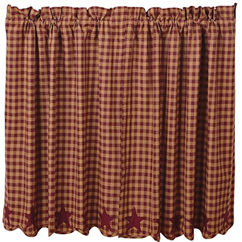 VHC Brands Classic Country Primitive Kitchen Window Curtains-Star Red Scalloped Tier Pair, L36 x W36, Burgundy (Burgundy Star)