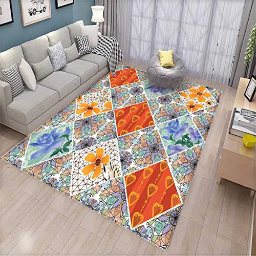 ea Rug Patchwork with Heart and Swirling Flower Pattern with Folkloric Feminine Details Bath Mat Non Slip Multicolor ()