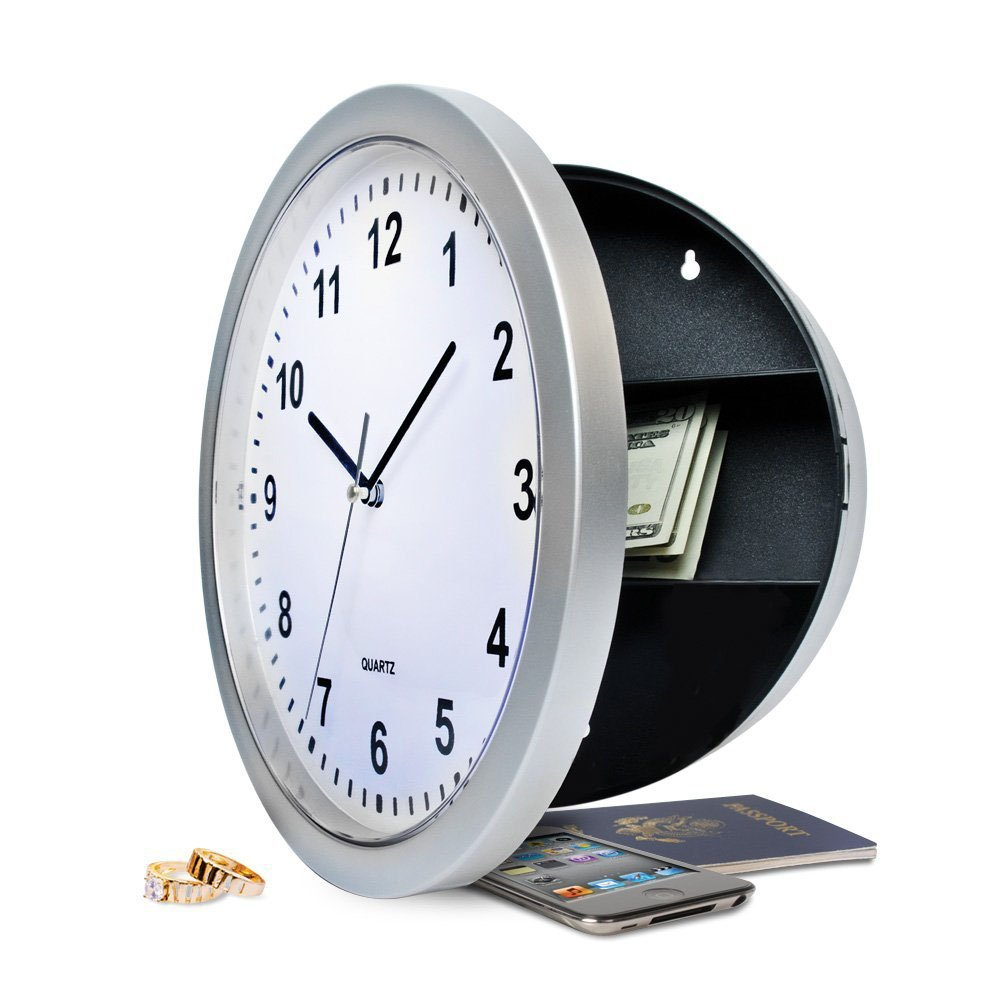 Working Wall Clock Three Compartment Shelf Hidden Diversion Safe