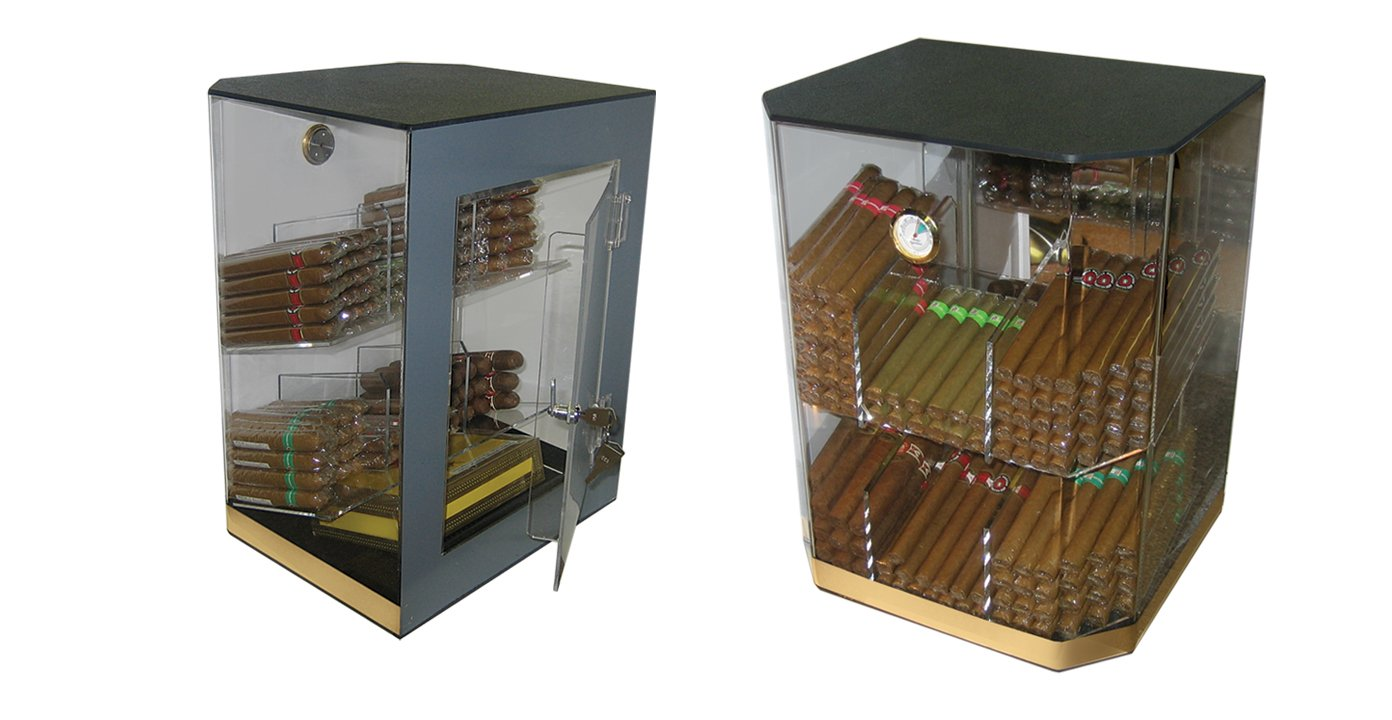 Prestige Import Group 150 Ct. Acrylic Display Humidor 6 Bins w/ Hygrometer