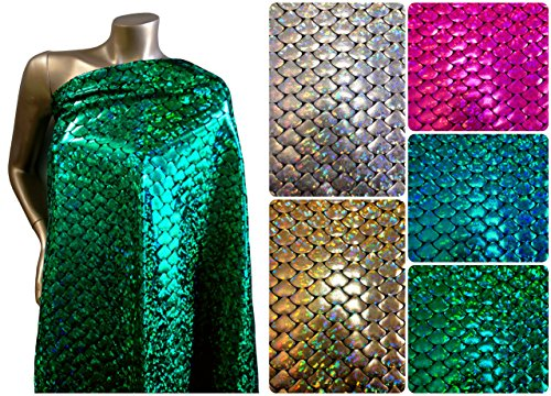 Shiny Holographic Foil Mermaid Scales Pattern on Black Stretch Nylon Spandex Shiny Tricot Fabric By the Yard (Holo 2 Costumes)