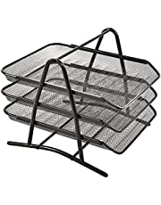 Hollylife Bandeja Extraible de Papel para Oficina, Organizador de Escritorio de Rejilla con Bandeja Triple, Gran Tamaño para A4 Papel, Documentos, y Material de Oficina (Negro)