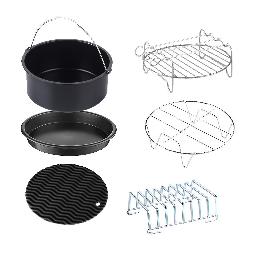 Air Fryer Accessories, 7 inch Deep Fryer Accessories Kit for Phillips, Gowise and Cozyna, Fit All 3.4QT - 5.8QT, Set of 6