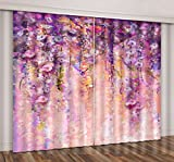 LB Spring Flower Window Curtains for Bedroom Living Room,Colorful Watercolor Patterns Teen Kids Room Darkening 3D Blackout Window Drapes 2 Panels,42 x 63 Inches Review