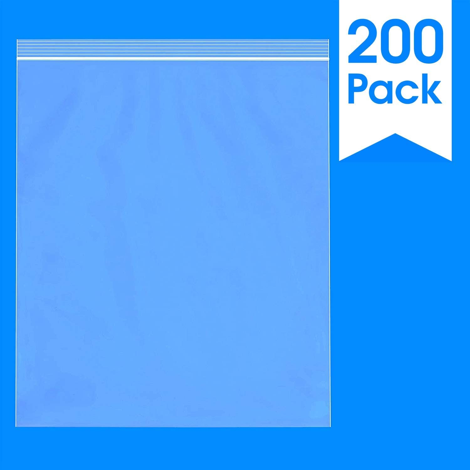 "Spartan Industrial || 200 Count - 13 X 15"" - 2 Gallon Clear Plastic Reclosable Zip Poly Bags with Resealable Lock Seal Zipper - 2 Mil (More Sizes Available)"