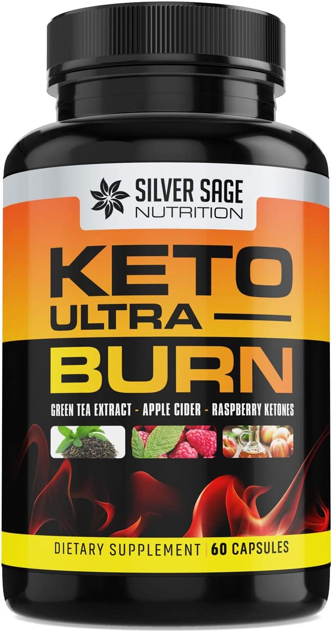Silver Sage Nutrition Keto Ultra Burn Keto Diet Pills Exogenous Ketones Supplements for Weight Loss for Women Weight Loss for Men 1200mg Natural Fat Burning Supplement