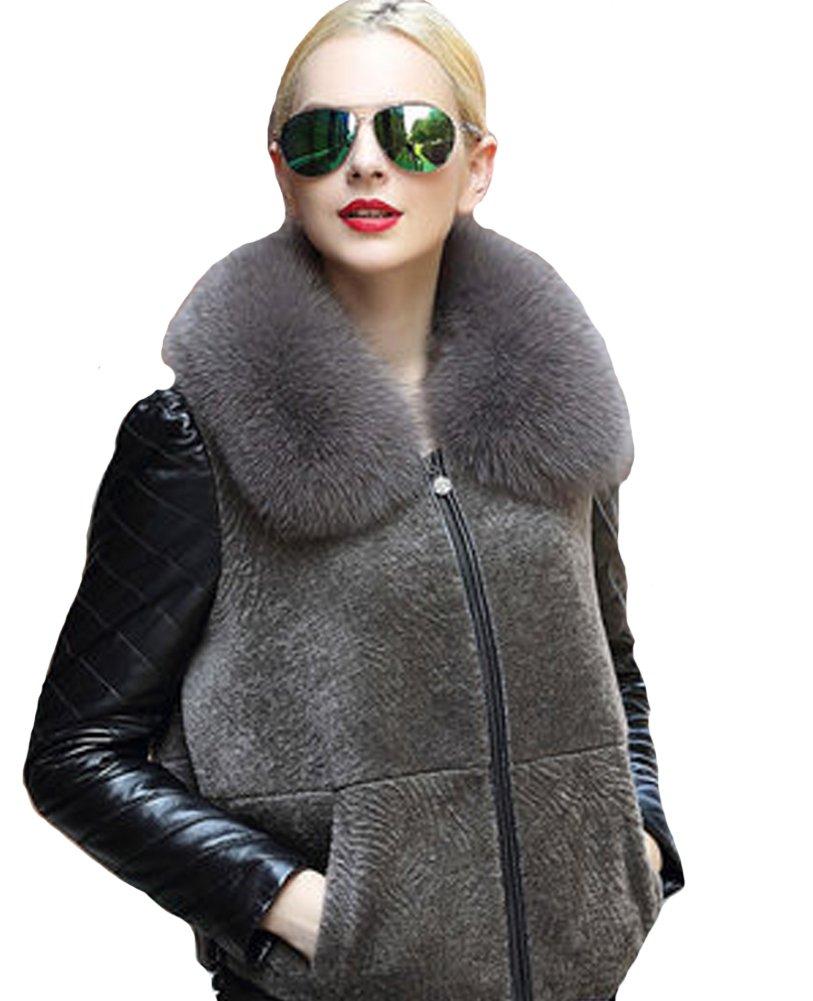 queenshiny Queeenshiny New Women's Wool Coat with Fox Fur Coat Dark Brown S(4-6) by Queenshiny