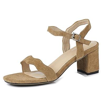 Aisun Femme Mode Couleur Unie Boucle Fine Chunky 6cm Lady Sandales