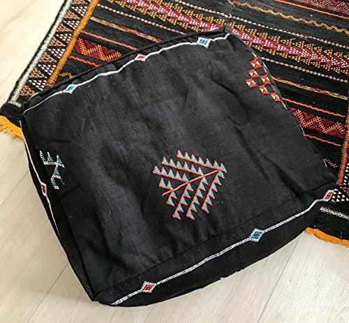 Black Berber Cactus silk (Sabra) pouf. (Kilim Silk Rug)