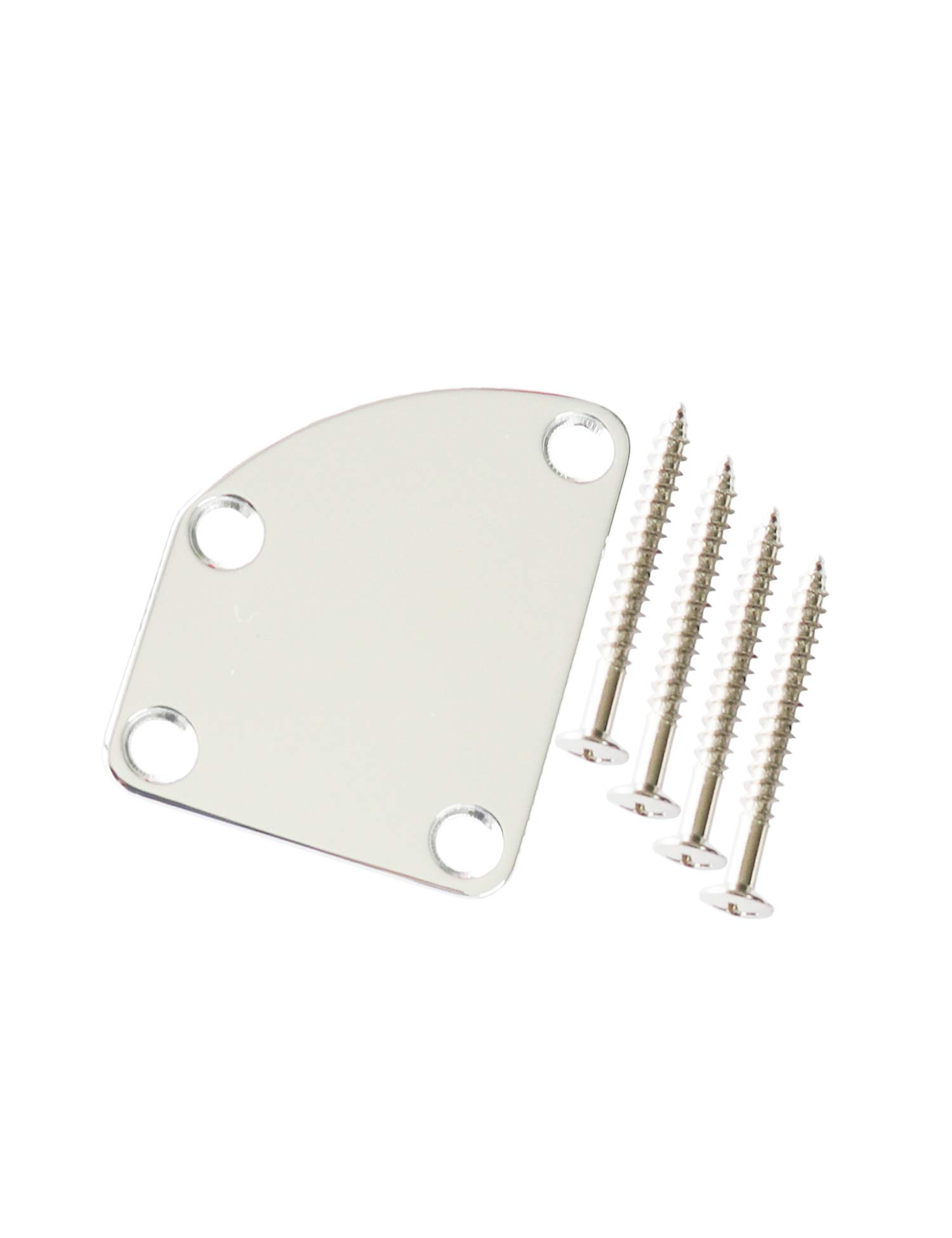 Metallor Electric Guitar Neck Plate Curved Cutaway Semi Round 4 Holes with Screws Compatible with Strat Tele Style Guitar Bass Parts Replacement (Chrome)
