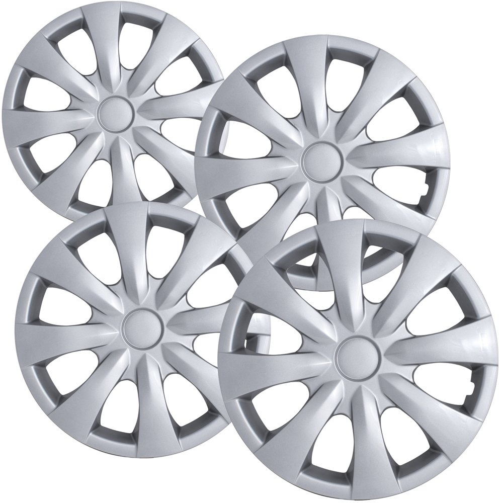OxGord Hub-caps for 09-16 Toyota Corolla (Pack of 4) Wheel Covers 15 inch Snap On Silver WCHC-61147-15SL