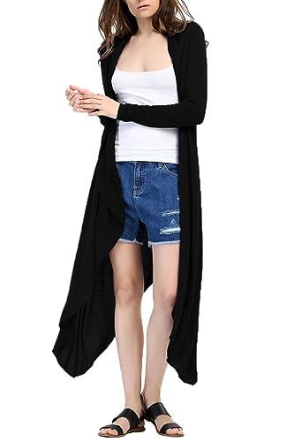 Las Mujeres De Manga Larga CASUAL MAXI Outerwear Cardigan Sweater Guerreras Frente Abierto