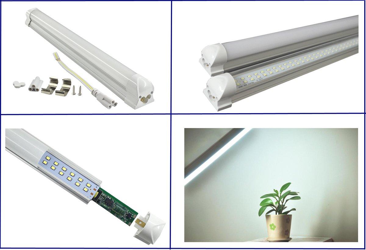 Pack of 2 LUMINTURS LED Tube Holder Integrated Ceiling Light Bar Hard Strip Fixture Cool white(6500K) SMD 2835 2FT 20W