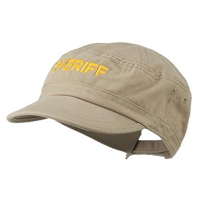 5576fd21c44 Sheriff Embroidered Enzyme Army Cap - Khaki OSFM at Amazon Men s ...