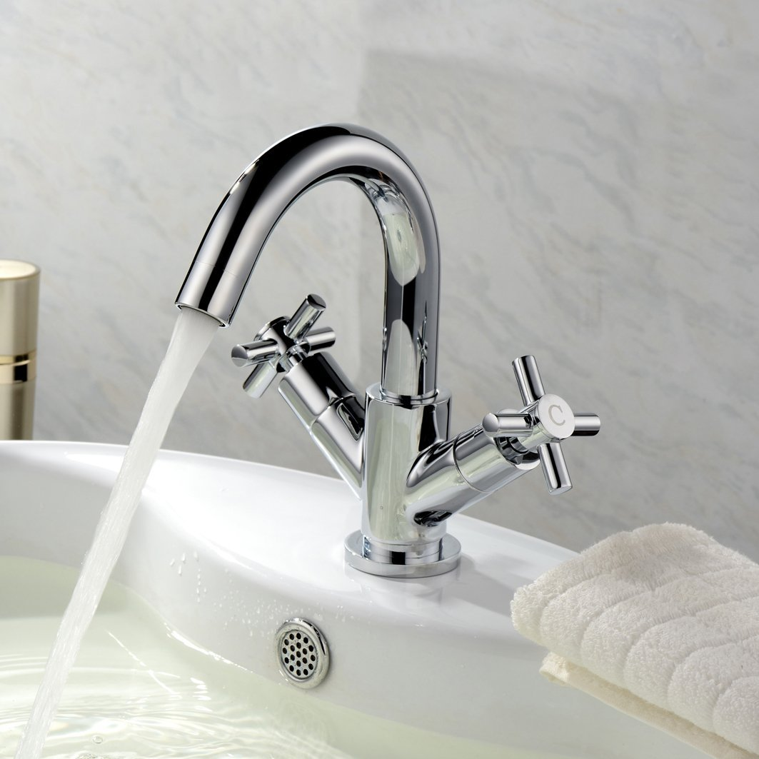 DBS Bath Shower Mixer Tap and Wash Basin Mixer Tap Monobloc With Shower Slider Rail Kit and Cross Head Handles