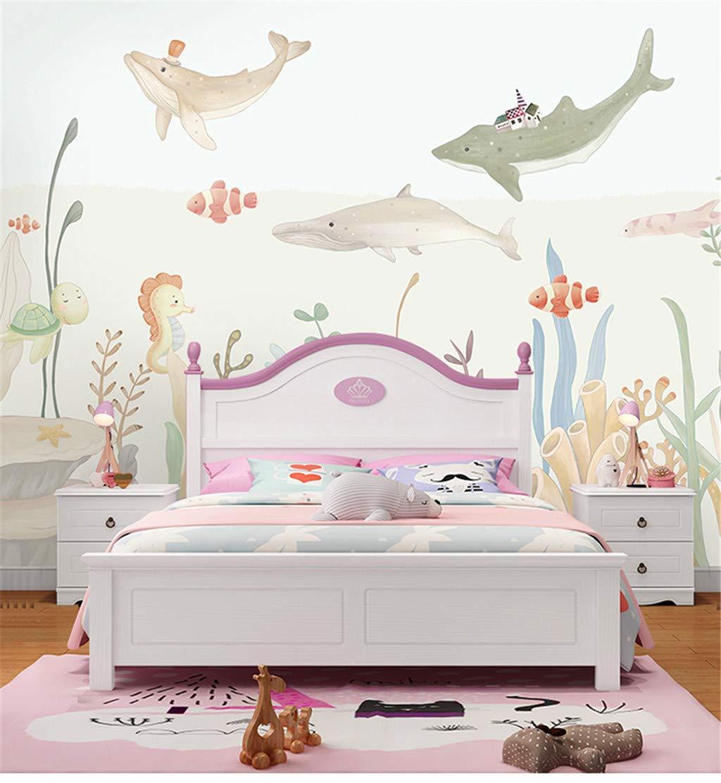 X140 Papier Peint 3D Marine Animal Murale Chambre DEnfant Style De Bande Dessin/ée Style Fond DArt Mur De Bricolage D/écoration 200 L H Cm De La Soie Taille Personnalisable