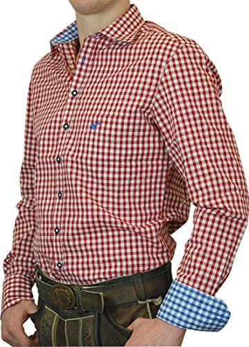OS Trachtenhemd Leopold mit Kontrasten Slim Line in verschiedenen Ausführungen, Größe:Halsgröße 41/42 (L);Farben:rot