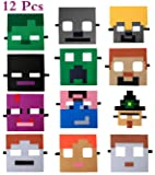 UJGTAR Replacement for Miner Pixel Masks Party Favors Supplies for Kids (12 Packs) Felt and Elastic - Masquerade and…