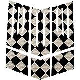 ロゴ無し サーフィン フロント 用 デッキパッド カスタム グリップ 6 カット パターン 白×黒 チェック