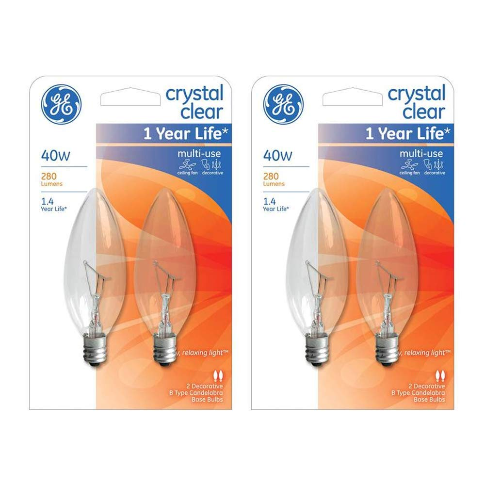 GE Lighting 75033 Crystal Clear Blunt Tip Candelabra Base Bulb | 40 watt | 2 bulbs per pack (4-Count Total)