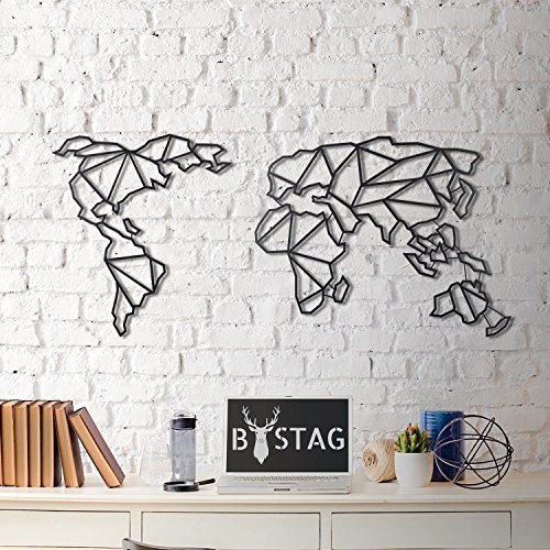 LaModaHome Modern Wall Art, 100% Metal - Metalic World Map, Continent, Wire - Size (23.6