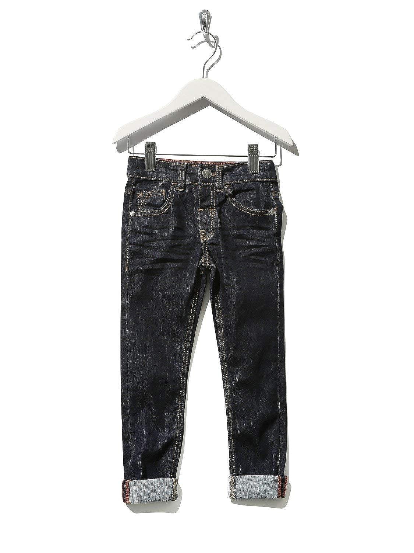 M&Co Boys Cotton Rich Dark Wash Button Fly Adjustable Waistband Turn Up Super Slim Fit Denim Jeans