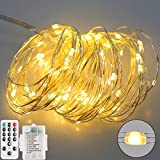 LED String Lights Fairy Lights Battery Powered with Remote Control Triple silver wire,16.5 Ft 50 LED Indoor and Outdoor Decoration for Christmas Halloween Bedroom Wedding Party Patio Lawn(warm white)