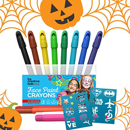 BEST FACE PAINT KIT for Kids with 12 Non-Toxic Color Sticks | Best Quality Painting Set, Sturdy Case+12 BONUS Stencils & E-book | Easy to Apply, Long Lasting,Water Based Twist Up Crayons! - Fae Halloween Costume