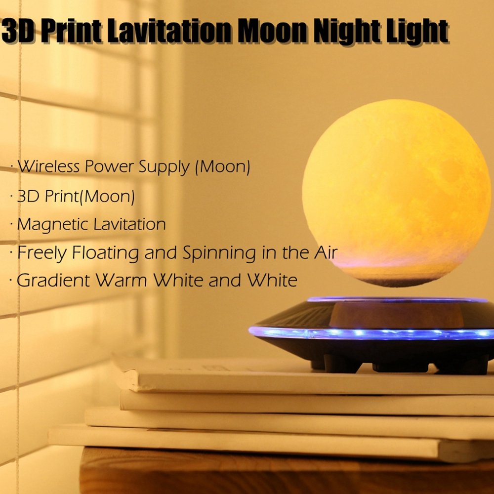 Magnetic Levitating Wireless Moon Lamp Floating and Spinning in the ...