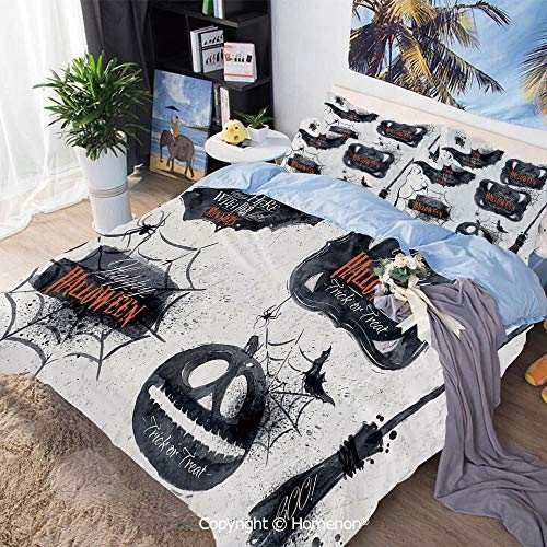 3-Piece Bed,Halloween Symbols Happy Holiday Witch Lives Here