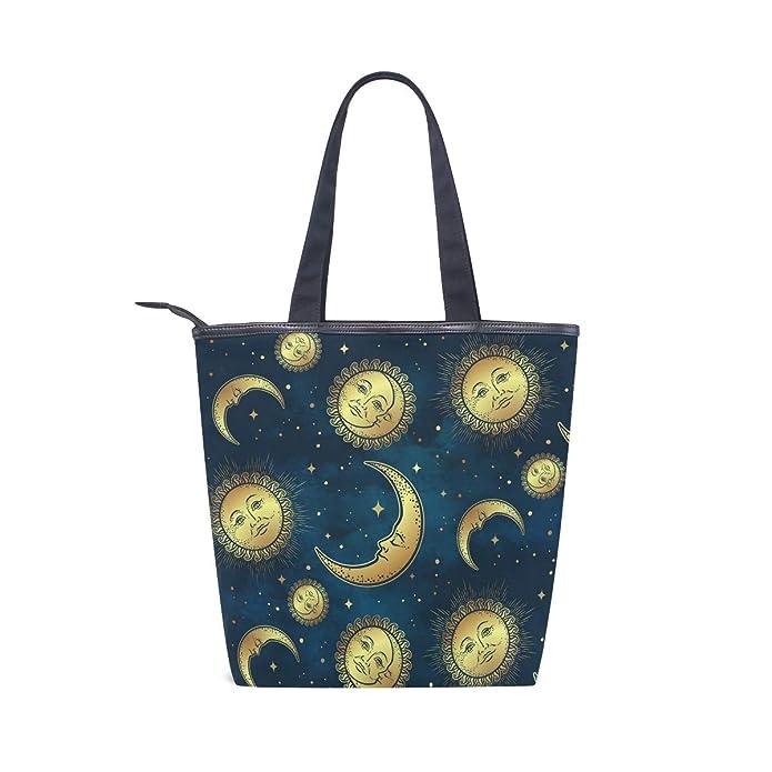 Amazon.com: Bolsas de lona con caras de sol y luna doradas ...