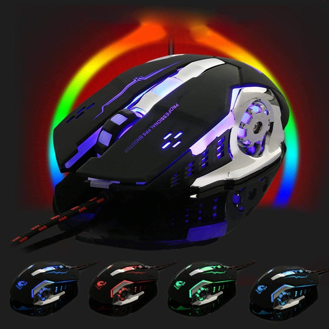 yerflew Ergonomic Gaming Mouse Adjustable DPI Levels,Colorful LED Light Wired Mouse Used for Games and Office