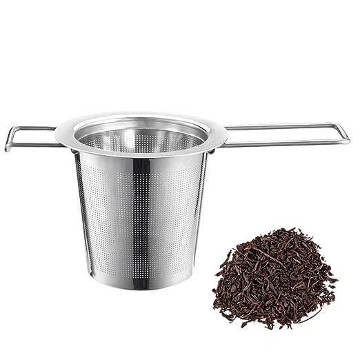 iLoveCos Taza de Te con Filtro- Taza de Acero Inoxidable Infuser Strainer Steeper para el té de Hoja Suelta-té té de Acero Inoxidable de 73mm x 53mm