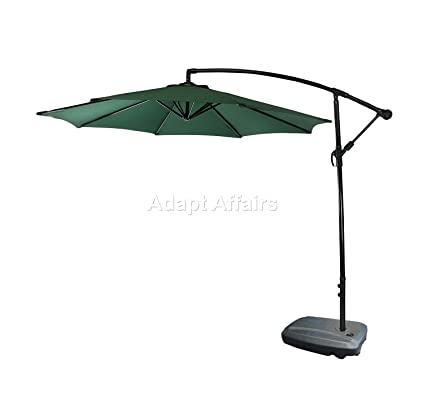 Invezo Impression Luxury Side Pole Patio Umbrella 9 ft Diameter Green with Water Base - Garden Umbrella/Outdoor Umbrella/Large Umbrella/Resort Umbrella/Terrace Umbrella/Lawn Umbrella/Patio Umbrella
