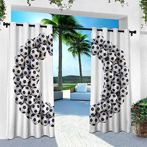 (Hengshu Letter O, Outdoor Blackout Curtains,Round Oval Arrangement of Soccer Balls Sporting Theme Match Day Illustration, W96 x L96 Inch, Black and White)