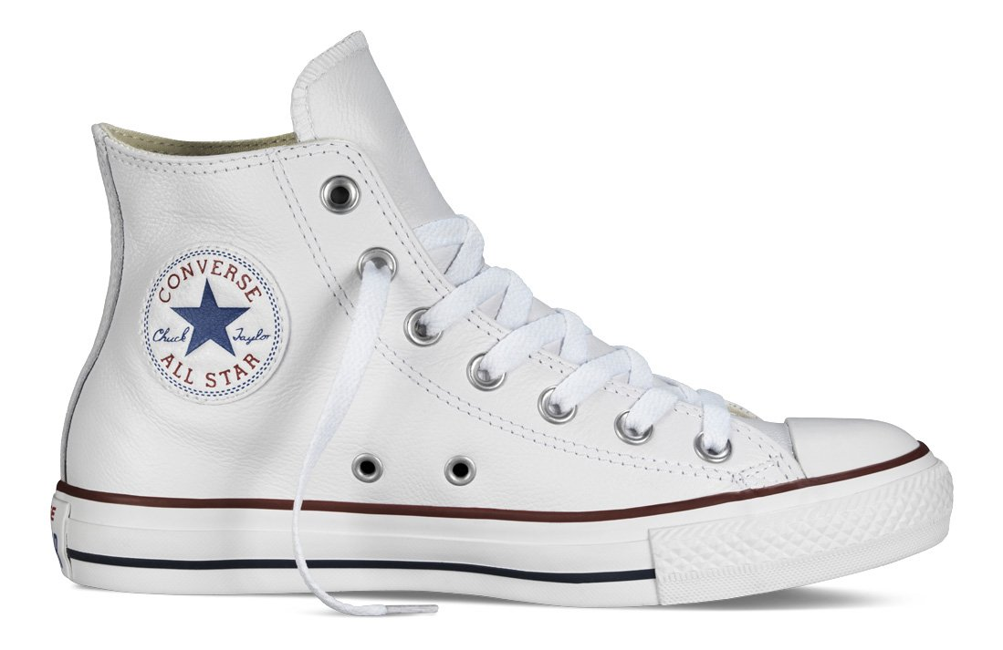 Converse Chucks Taylor All Star Hi Leder, Unisex - Erwachsene Sneaker  37.5 EU|Wei? (Optical White)