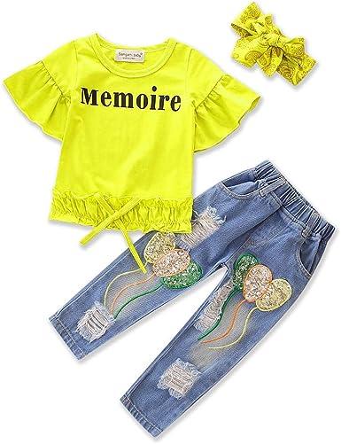 Samgami Baby Kids Long Sleeves Knitting Sweater T-Shirt Cowboy Pants Girls Baby Jeans Set