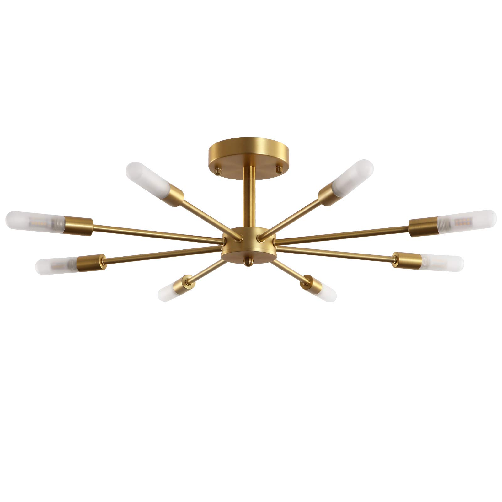 Semi Flush Ceiling Vintage Brushed Gold Light Fixture Palacelantern Electroplated Brass 8