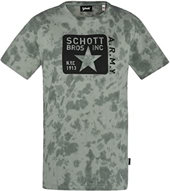 Schott - Camiseta para hombre, color verde caqui: Amazon.es ...