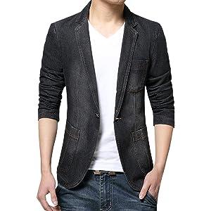 (ネルロッソ) NERLosso テーラードジャケット メンズ デニム ブレザー テーラード ジャケット ボタン ビジネス カジュアル 長袖 大きいサイズ XXXL ブラックcmc24550-XXXL-bl