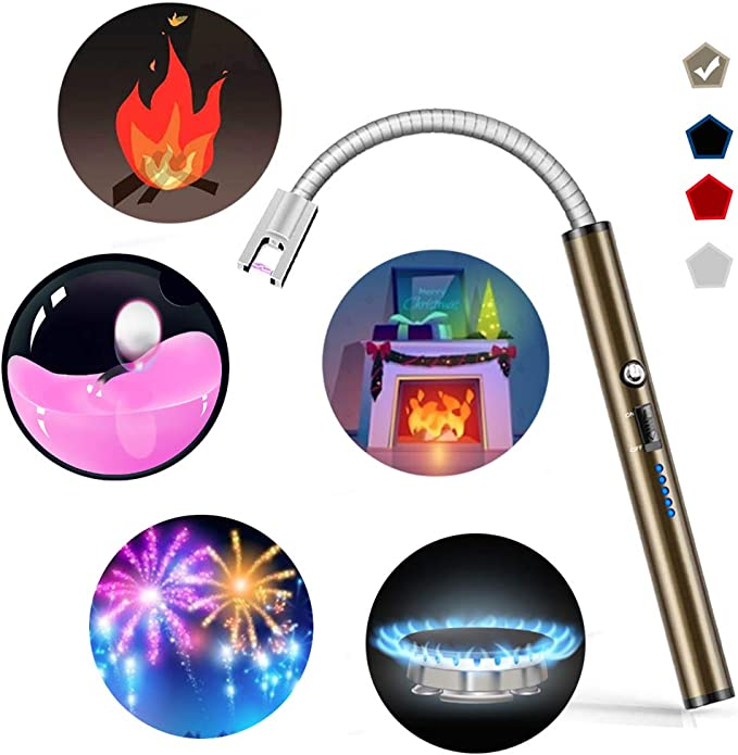 Amazon.com: Boncas Flexible Arc Lighter USB Candle Lighter Plasma Lighter Rechargeable Windproof Lighter Long for Household Camping Cooking BBQ Olive Gray (Candle Not Included): Home & Kitchen