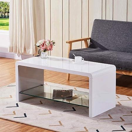 GOLDFAN Tavolino Rettangolare Bianco Lucido Tavolino da caffè per Soggiorno  Camera da Letto Design Moderno Legno 100 * 45 * 45 CM