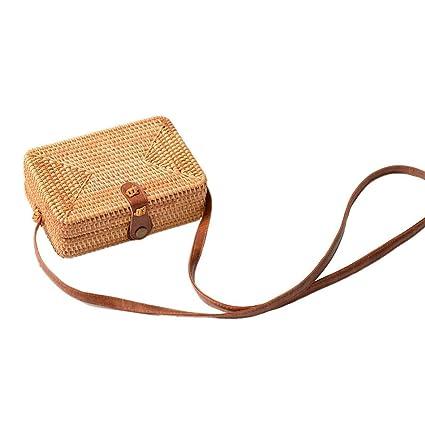 e28664a0e5 Borsa a tracolla donne estate rotonda della paglia a mano borse in tessuto  Donna Rettangolo Rattan Beach: Amazon.it: Valigeria